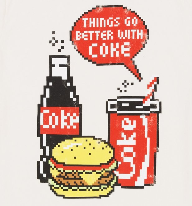 Men's Coca-Cola Pixels Ecru T-Shirt