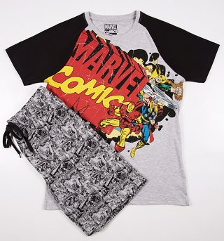 Men's Comic Style Marvel Comics Shortie Pyjamas