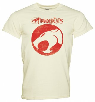 Men's Cream Thundercats Logo Heavyweight T-Shirt