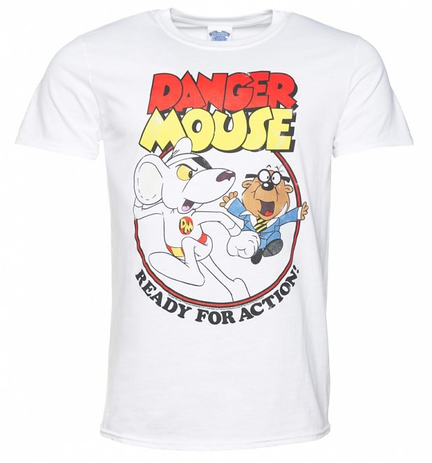Men's Danger Mouse Ready For Action White T-Shirt