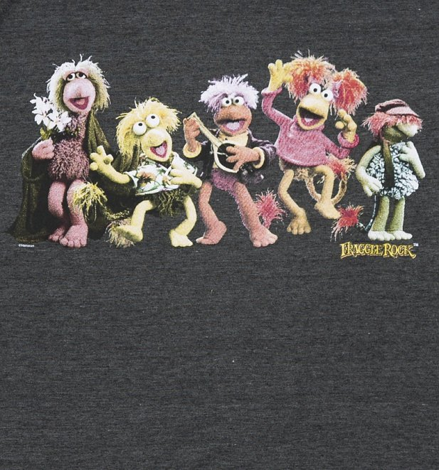 Men's Dark Grey Marl Fraggle Rock Characters T-Shirt