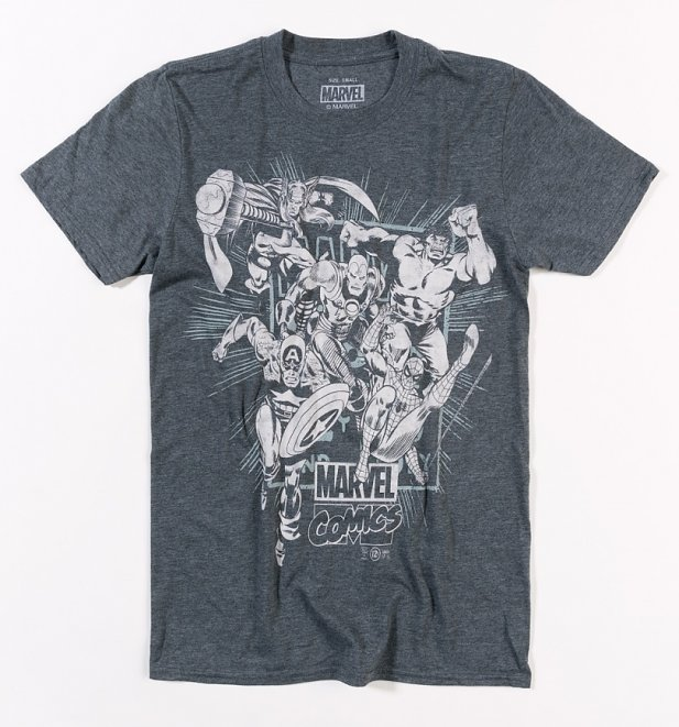 Men es Dark Heather Marvel Comics Band des Helden T-Shirt