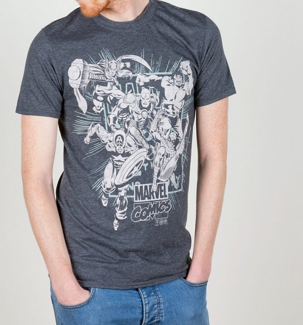 Men's Dark Grey Marl Marvel Comics Band Of Heroes T-Shirt