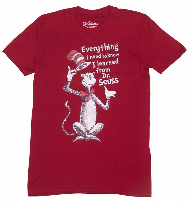 Men's Dark Red Everything I Know Dr Seuss T-Shirt
