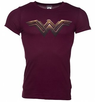 Men's Dark Red Wonder Woman Logo T-Shirt