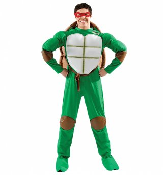 Men's Deluxe Teenage Mutant Ninja Turtles Fancy Dress Costume With Changeable Masks