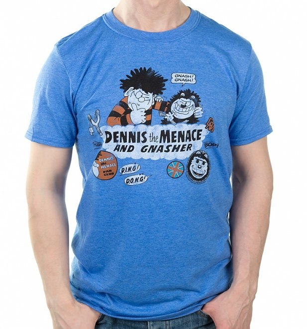 Men's Dennis The Menace And Gnasher Beano Badges Heather Blue T-Shirt