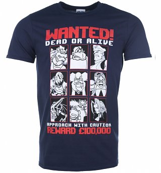 Men's Gaming Villains Wanted Poster Navy T-Shirt