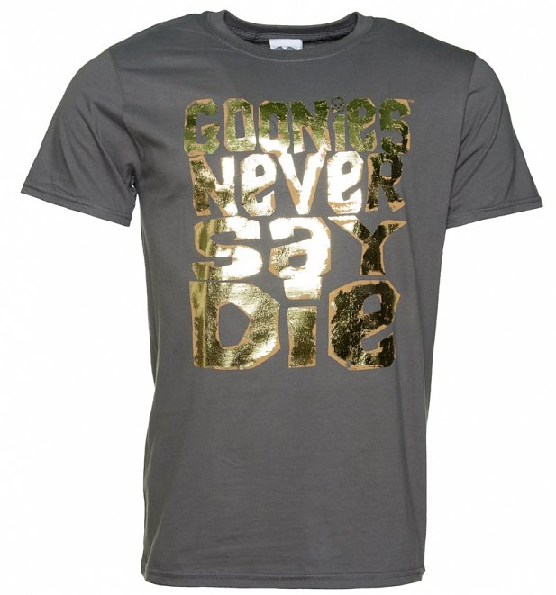 Men's Gold Foil Print Goonies Never Say Die Charcoal T-Shirt