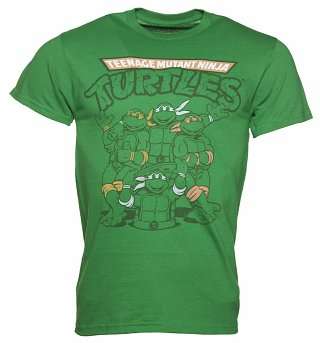 Men's Green Retro Teenage Mutant Ninja Turtles T-Shirt