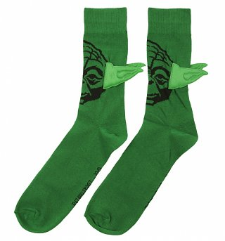 Men's Green Yoda Star Wars Socks With Ears