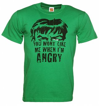 Men's Green You Won't Like Me When I'm Angry Incredible Hulk T-Shirt