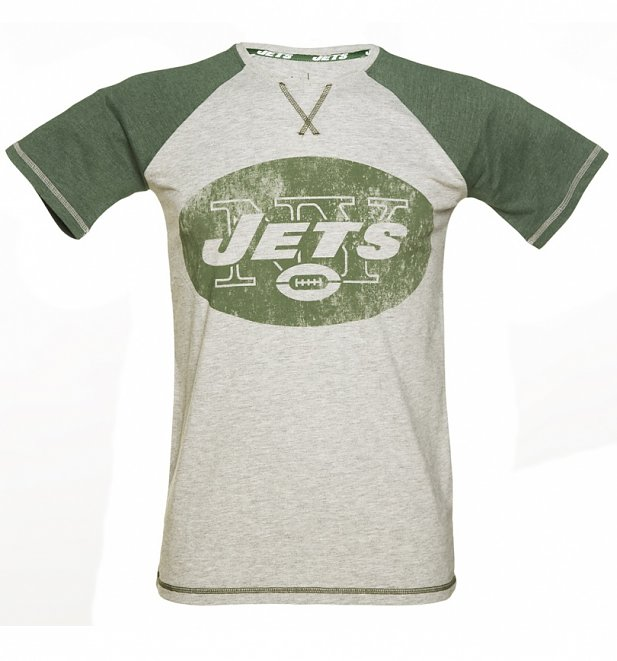 Men's Grey And Green New York Jets NFL Raglan T-Shirt