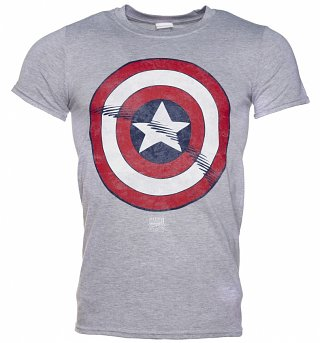 Men's Grey Captain America Distressed Shield Marvel T-Shirt