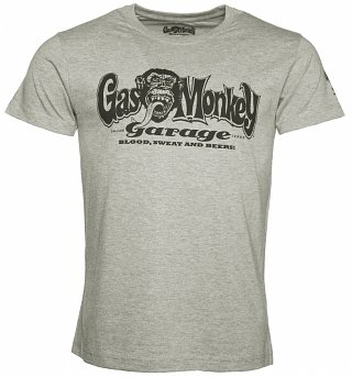Men's Grey Fast N' Loud Gas Monkey Garage Logo T-Shirt