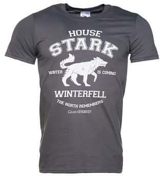 Men's Grey Marl Game Of Thrones House Stark Winterfell Direwolf T-Shirt