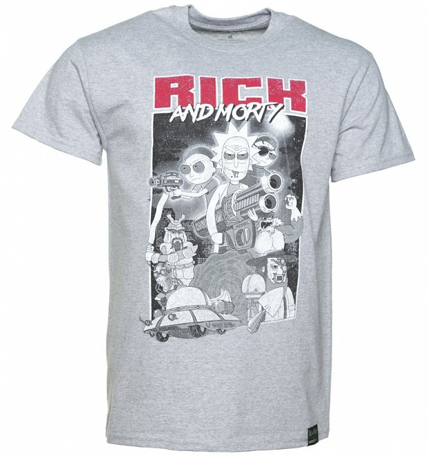 Men's Grey Marl Rick And Morty T-Shirt from Absolute Cult