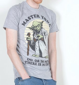 Men's Grey Master Yoda Do Or Do Not Star Wars T-Shirt
