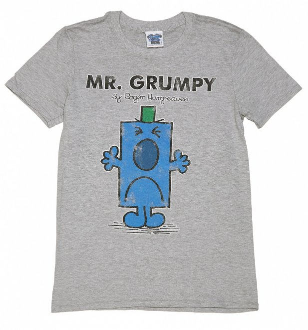 Men's Grey Mr Grumpy Mr Men T-Shirt