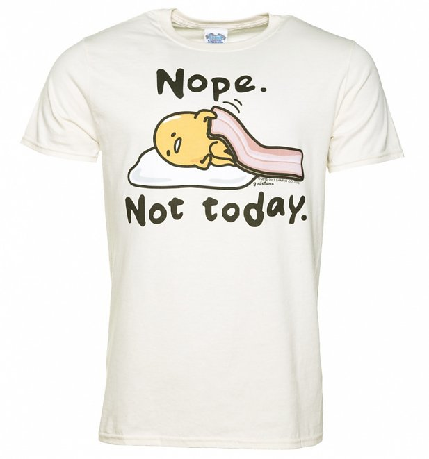 Men's Gudetama Nope Not Today Ecru T-Shirt