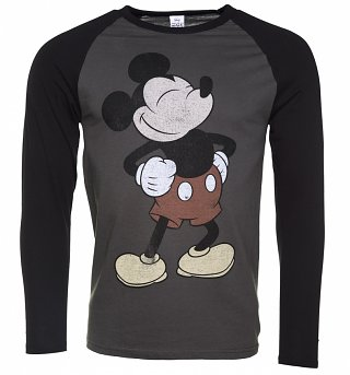 Men's Heather Grey Vintage Proud Mickey Mouse Disney Long Sleeve Baseball T-Shirt