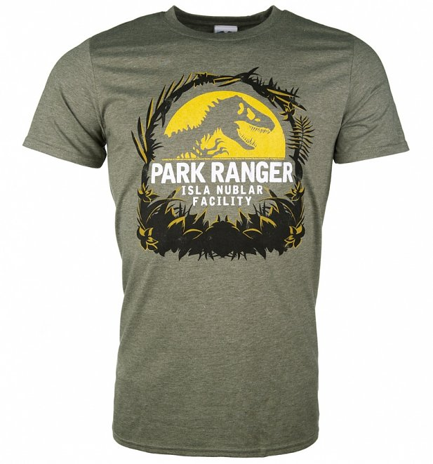 Men's Jurassic Park Isla Nublar Facility Heather Military Green T-Shirt