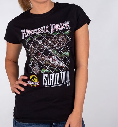 Women's Jurassic Park Island Tour Black Fitted T-Shirt