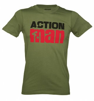Men's Khaki Distressed Action Man Logo T-Shirt