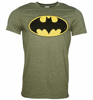 Men's Khaki Distressed Batman Logo T-Shirt