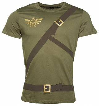 Men's Khaki Legend Of Zelda Link Costume T-Shirt