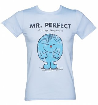 Men's Light Blue Mr Perfect Mr Men T-Shirt