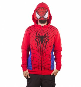 Men's Marvel Comics Spider-Man Zip Through Costume Hoodie With Mesh Mask