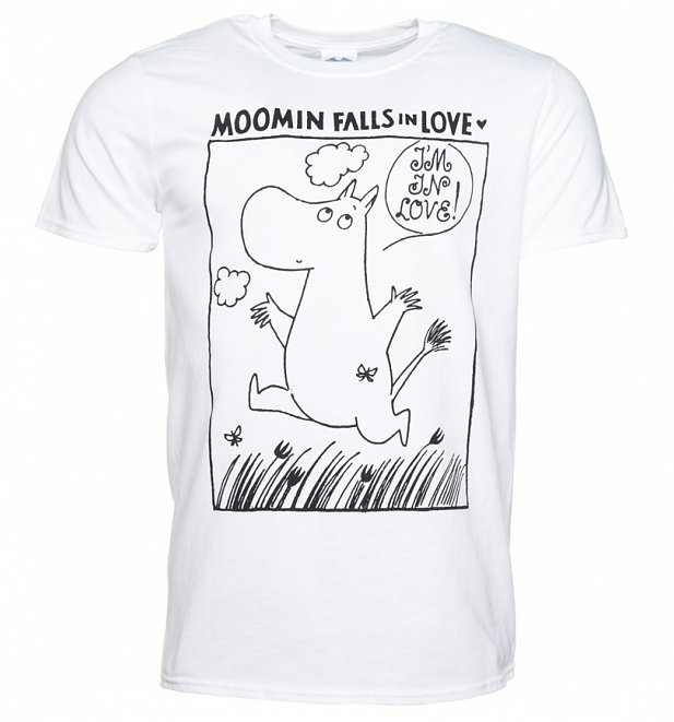 Men's Moomins In Love Comic Strip White T-Shirt