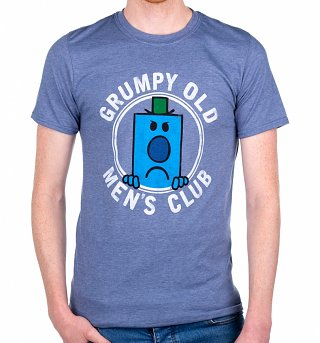Men's Mr Men Grumpy Old Men's Club Heather Indigo T-Shirt