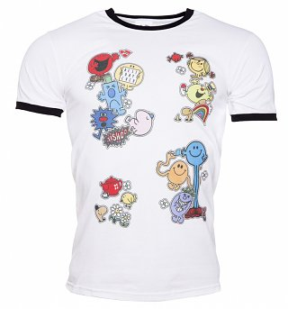 Men's Mr Men and Little Miss Patches Ringer T-Shirt