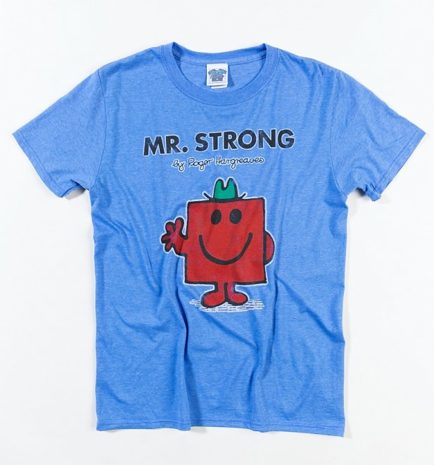 Men's Blue Marl Mr Strong Mr Men T-Shirt