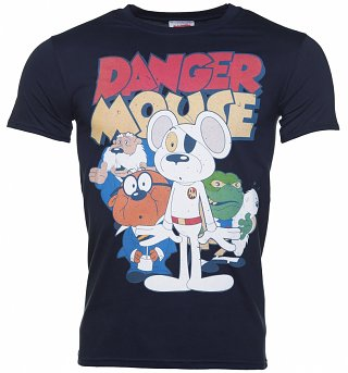 Men's Navy Danger Mouse Group And Logo T-Shirt