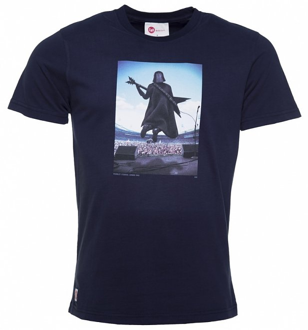 Men's Navy Darth Vader Guitar Hero Star Wars T-Shirt from Chunk