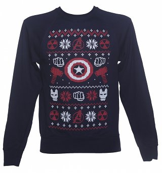 Men's Navy Marvel Characters Symbols Fair Isle Knit Design Sweater