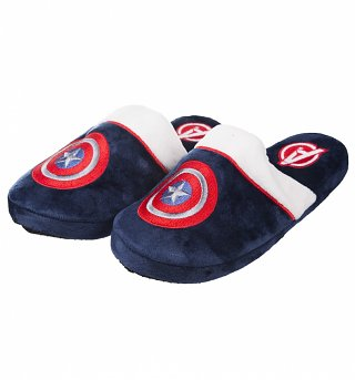 Navy Marvel Comics Captain America Slip On Slippers