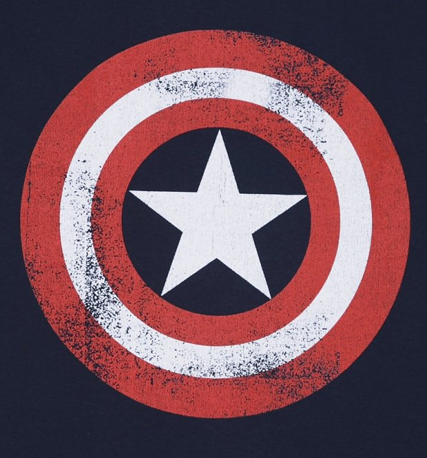 Men's Navy Marvel Distressed Captain America Shield Logo T-Shirt