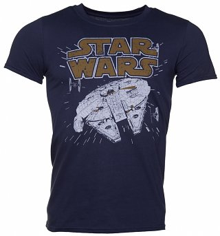 Men's Navy Star Wars Millennium Hyperspace T-Shirt