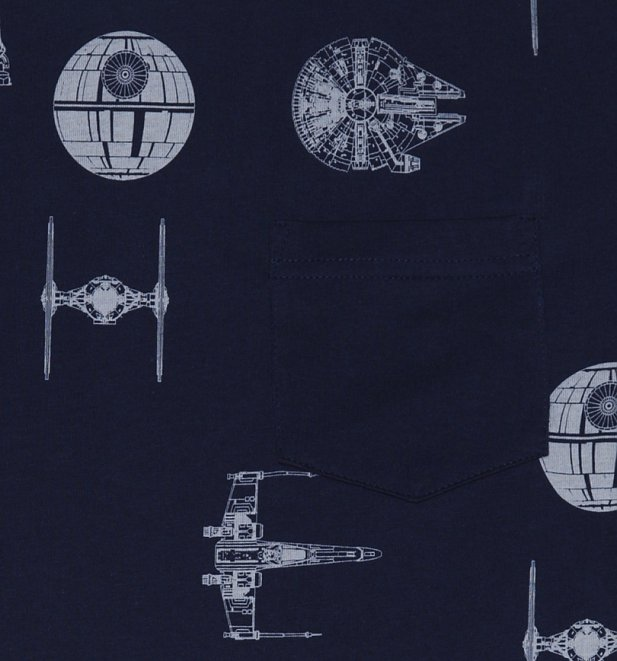 Men's Navy Star Wars Transporter Repeat Print T-Shirt from Fabric Flavours