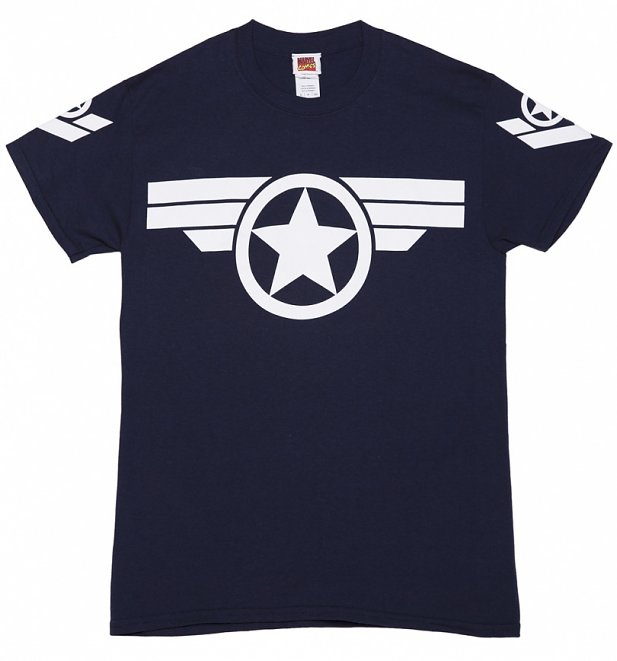 Men's Navy Steve Rogers Super Soldier Captain America Uniform Marvel T Shirt
