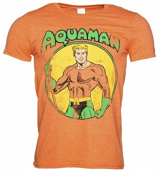 Men's Orange Distressed DC Comics Aquaman T-Shirt