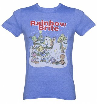 Men's Blue Marl Rainbow Brite Christmas Scene T-Shirt