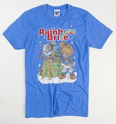 Men's Rainbow Brite Christmas Tree Heather Royal Blue T-Shirt