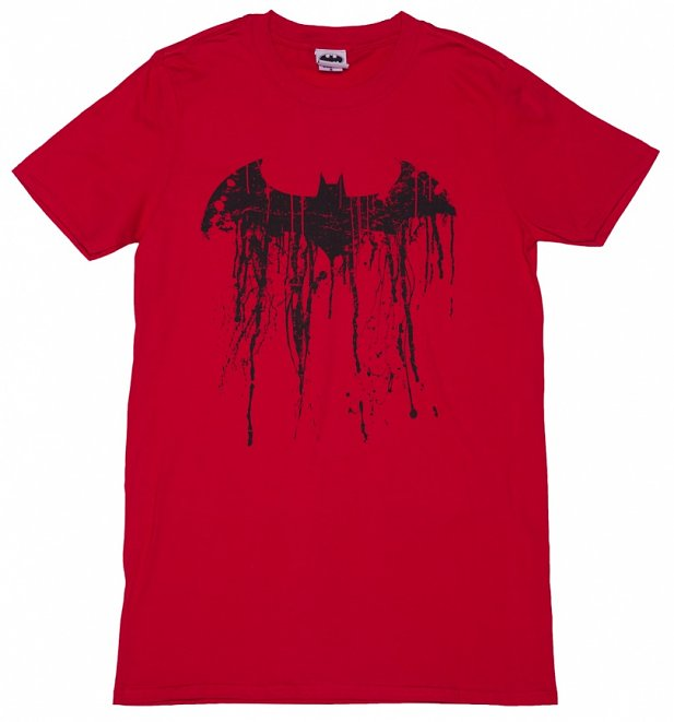 Men's Red Batman Graffiti Logo T-Shirt