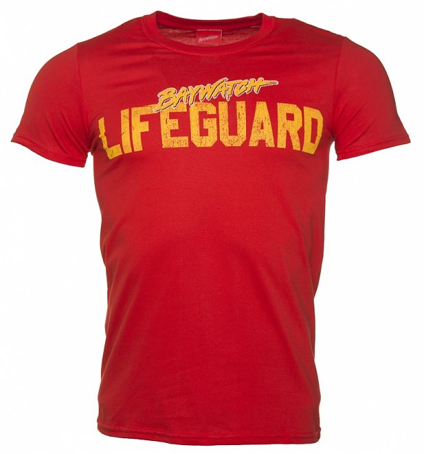 Men's Red Baywatch Lifeguard T-Shirt