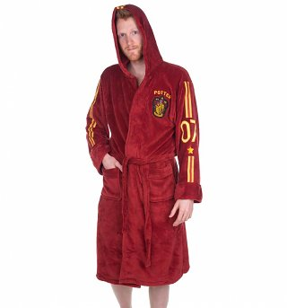 Men's Red Harry Potter Quidditch Hooded Dressing Gown